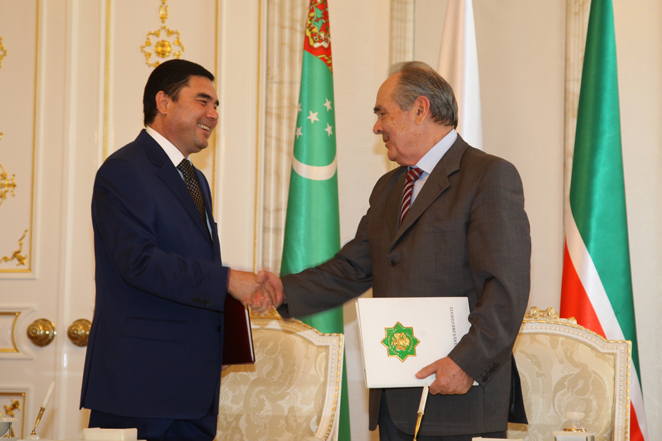 With the President of Turkmenistan, 2008