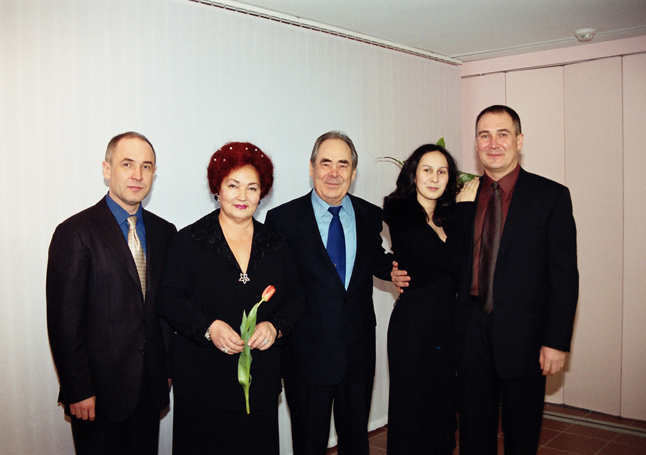 With his family, 2001