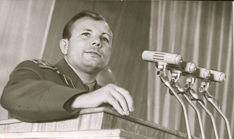 Yuri Gagarin speaking at the opening of the festival of Soviet-Japanese youth friendship, Kazan. August, 1967