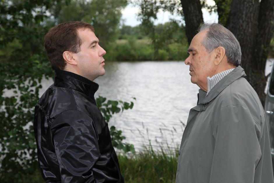 With Dmitry Medvedev, 7 August 2008